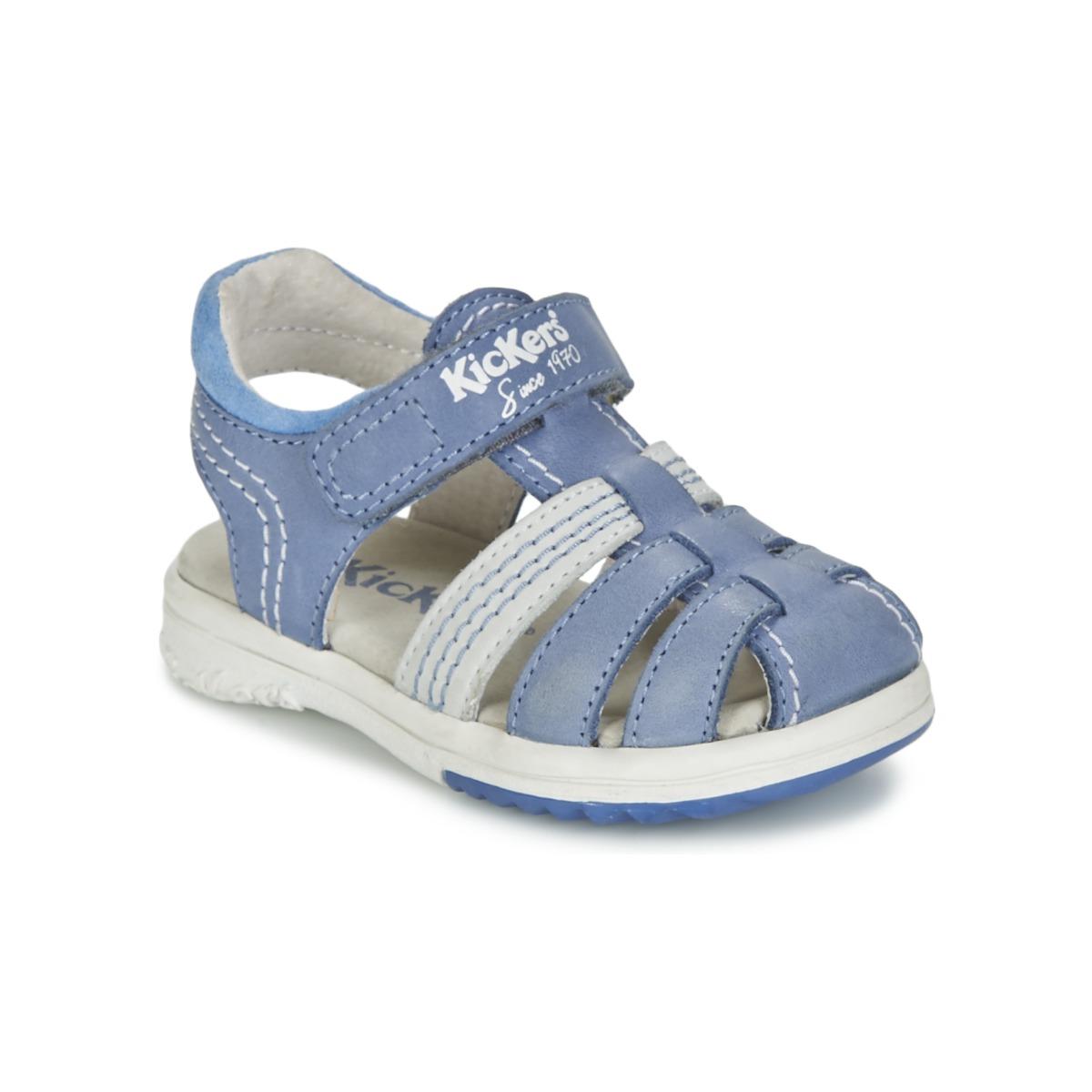 sandale kickers platinium bleu livraison gratuite avec chaussures enfant 58 99. Black Bedroom Furniture Sets. Home Design Ideas