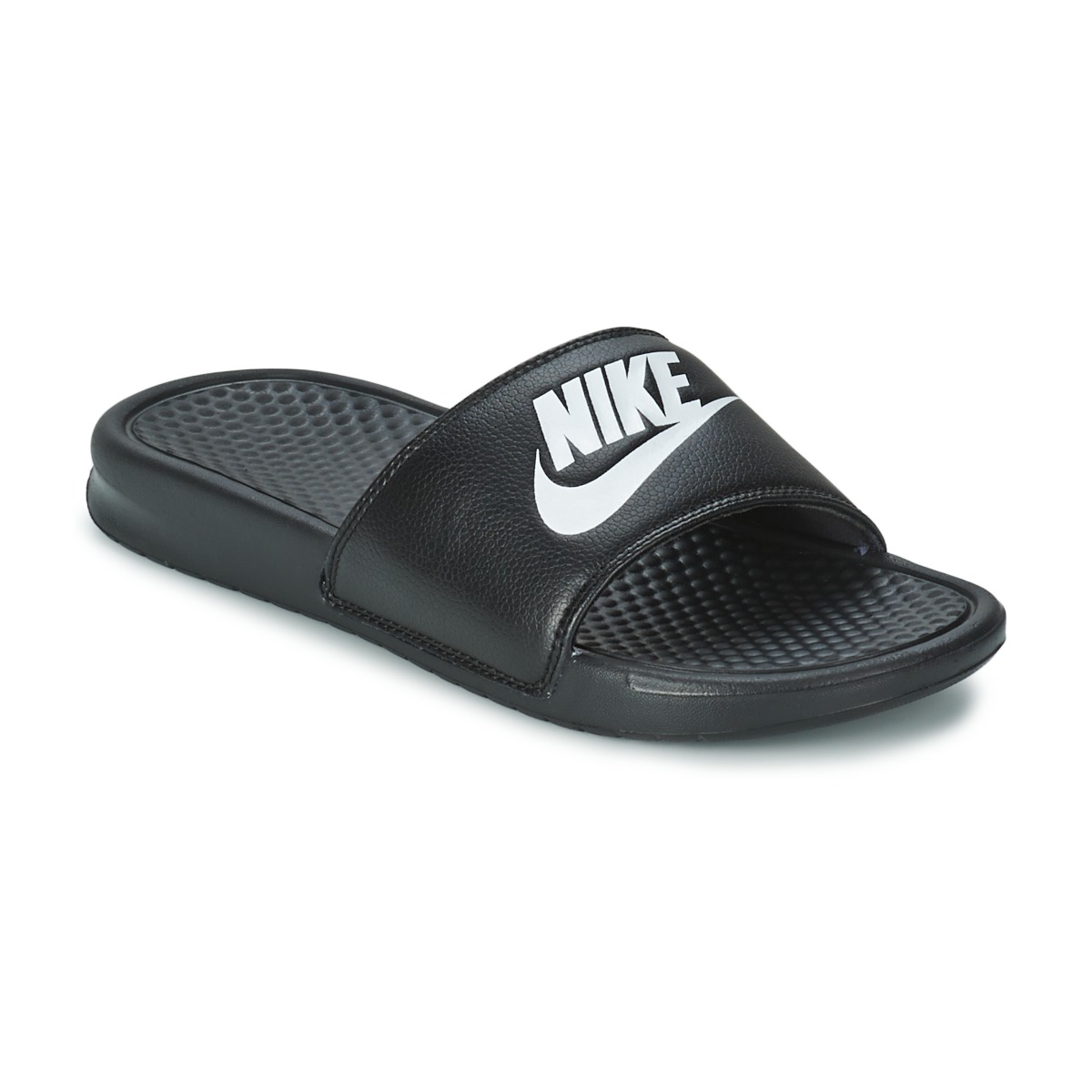 mules nike benassi just do it noir livraison gratuite avec chaussures homme 24. Black Bedroom Furniture Sets. Home Design Ideas