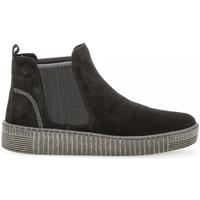 Chaussures Femme Boots Gabor Bottine velours talon  plat Noir