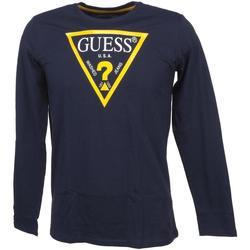Vêtements Garçon T-shirts manches longues Guess Ls t shirt core deck blue Bleu marine / bleu nuit