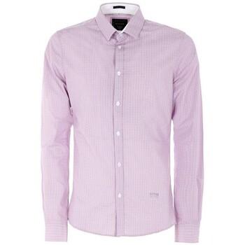Vêtements Homme Chemises manches longues Guess Chemise Homme Micro Allover Printed Violet M64H15 15