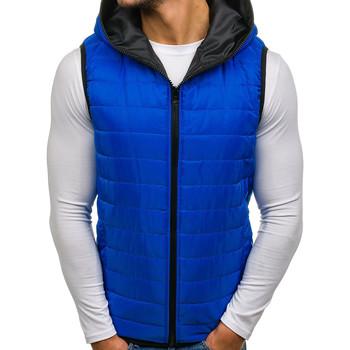 Vêtements Homme Doudounes Monsieurmode Doudoune à capuche sans manches Doudoune M4021 bleu Bleu