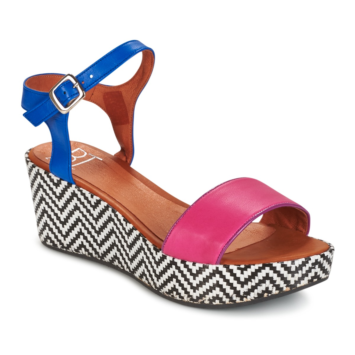 Sandale Betty London EDOUVOLE Fuchsia / Bleu