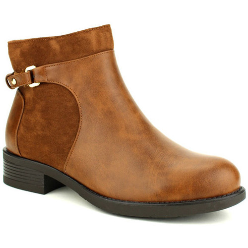 024e51e1454569 Chaussures Femme Low boots Cendriyon Bottines Caramel Chaussures Femme  Caramel