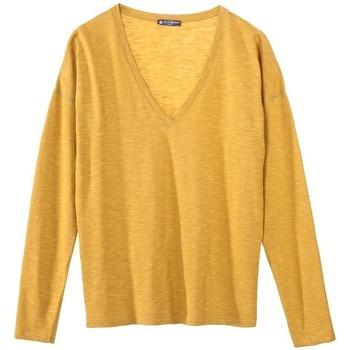 Vêtements Femme T-shirts manches longues Petit Bateau T-shirt ML Femme Col V en Jersey Flammé Jaune inca Jaune