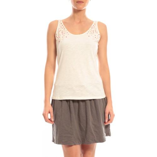 Vêtements Femme Débardeurs / T-shirts sans manche Blune Débardeur Lendemain de fête LF-DF01E13 Écru Beige