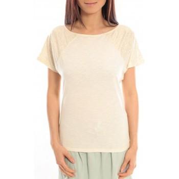 Vêtements Femme T-shirts manches courtes Blune T-Shirt Pointilleuse PO-TF02E13 Écru Beige