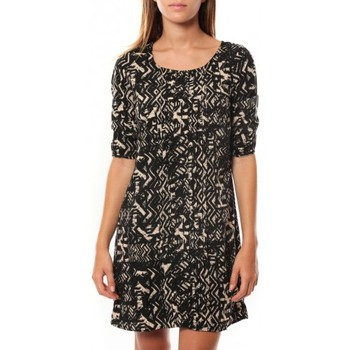 Vêtements Femme Robes courtes Vero Moda DRESS LEAH 3/4 SHORT EX7 Black/LATTE Noir