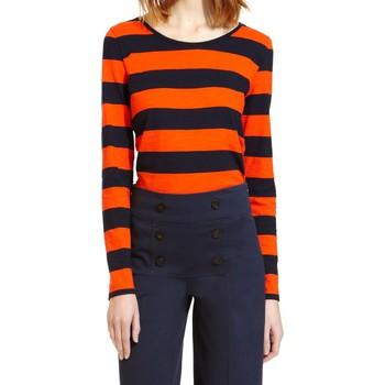Vêtements Femme T-shirts manches longues Petit Bateau Tee Shirt ML 112175921 Orange/Bleu Orange