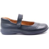 Chaussures Fille Ballerines / babies Boni Classic Shoes Ballerine uniforme en cuir à scratch - BETTY II Bleu Marine