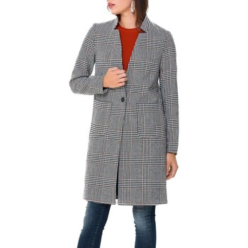 Vêtements Manteaux Only onlHELEN CHECK WOOL COAT Gris