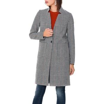 Vêtements Manteaux Only onlHELEN CHECK WOOL COAT Gris