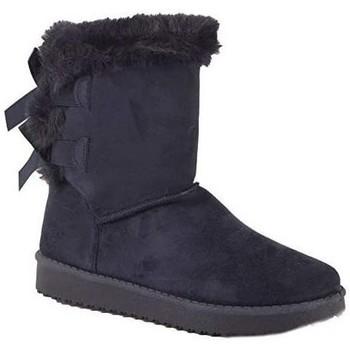 Chaussures Femme Bottes de neige Primtex Bottes fourrées  avec ruban satiné et fourrure synthétique Bleu marine