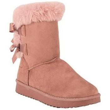 Chaussures Femme Bottes de neige Primtex Bottes fourrées  avec ruban satiné et fourrure synthétique Rose