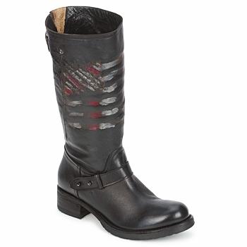 Bottines / Boots Strategia ENRO Noir imprimé drapeau 350x350