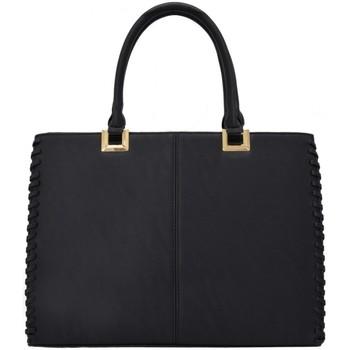 Sacs Femme Cabas / Sacs shopping Crazychic Grand Sac à Main Patchwork Bicolore Noir