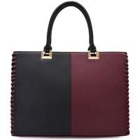Sacs Femme Cabas / Sacs shopping Crazychic Grand Sac à Main Patchwork Bicolore Rouge