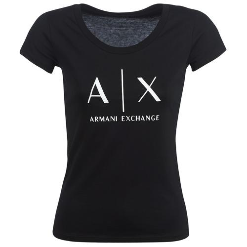 Vêtements Femme T-shirts manches courtes Armani Exchange HELBATANTE Noir