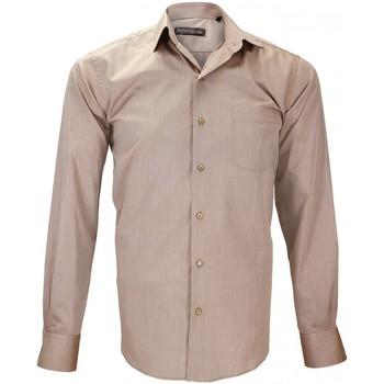 Vêtements Homme Chemises manches longues Emporio Balzani chemise fil a fil luiggi beige Beige
