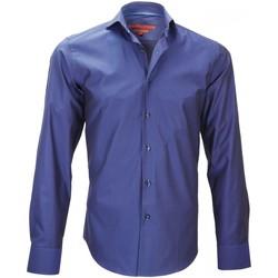 Vêtements Homme Chemises manches longues Andrew Mc Allister chemise tissu armuree hood bleu Bleu