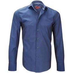 Vêtements Homme Chemises manches longues Andrew Mc Allister chemise tissu jacquard italian bleu Bleu