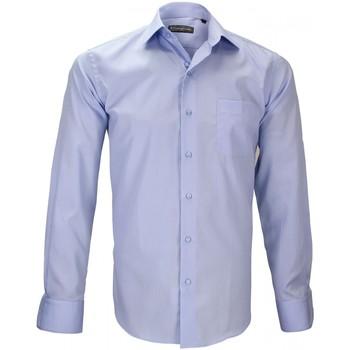 Vêtements Homme Chemises manches longues Emporio Balzani chemise en popeline palazzo bleu Bleu