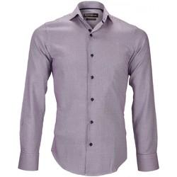 Vêtements Homme Chemises manches longues Emporio Balzani chemise tissu jacquard fiori violet Violet