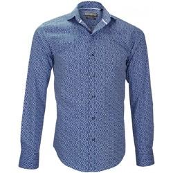 Vêtements Homme Chemises manches longues Emporio Balzani chemise imprimee fiori bleu Bleu