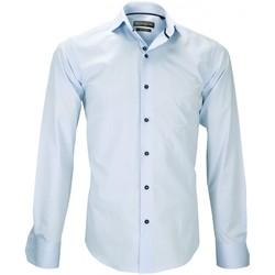 Vêtements Homme Chemises manches longues Emporio Balzani chemise tissu jacquard fiori bleu Bleu