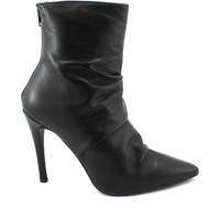 Chaussures Femme Bottines Divine Follie 4211 bottines noires femme mi-talon en cuir zip d'orteil Nero