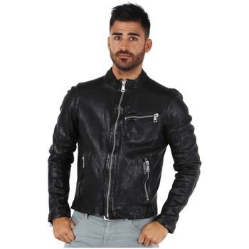 Vêtements Homme Blousons Redskins Blouson  Cross Janeiro en cuir ref_44189 Noir Noir