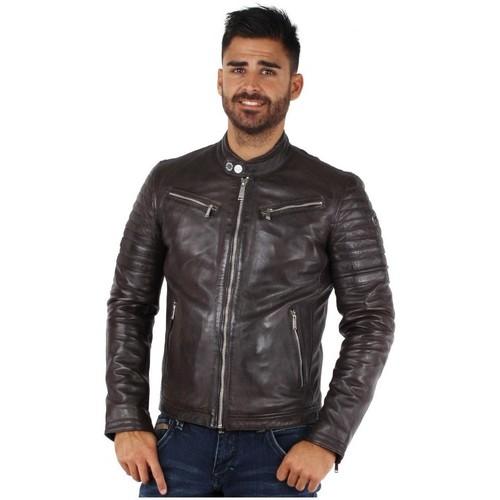 Vêtements Homme Blousons Redskins Blouson  Kyle Casting en cuir ref_44383 TGO Marron