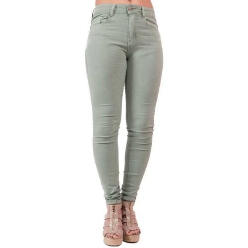 Vêtements Femme Jeans slim Primtex Jean slim   vert clair taille haute en stretch Vert