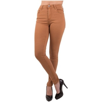 Vêtements Femme Jeans slim Primtex Jean slim  camel taille haute coupe stretch Camel
