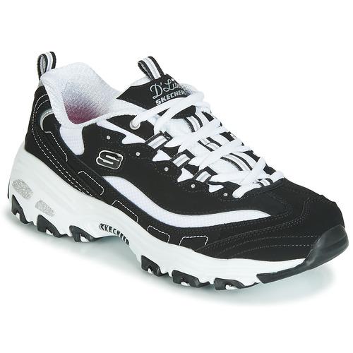 Chaussures Femme Baskets basses Skechers D'LITES Noir / Blanc