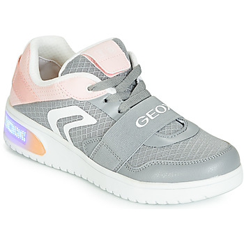 946b5e88a5c9c Chaussures Fille Baskets montantes Geox J XLED GIRL Gris   Rose   LED