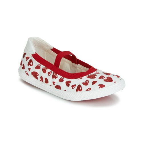 Geox J KILWI GIRL Blanc Rouge Fille Chaussures Ballerines