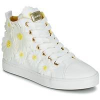 Chaussures Fille Baskets montantes Geox JR CIAK GIRL Blanc / fleurs Jaunes