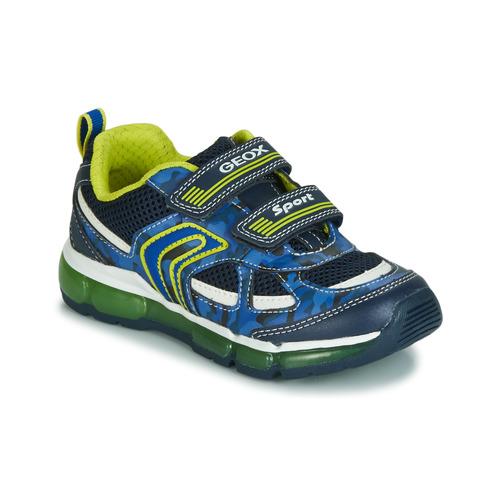 59db34d90f0b29 Chaussures Garçon Baskets basses Geox J ANDROID BOY Marine / Jaune / LED