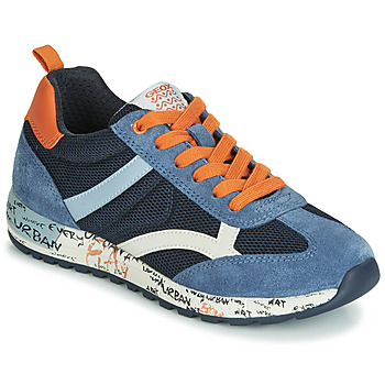 Chaussures Garçon Baskets basses Geox J ALBEN BOY Marine / Orange