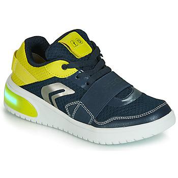 Chaussures Garçon Baskets basses Geox J XLED BOY Bleu / Jaune / LED
