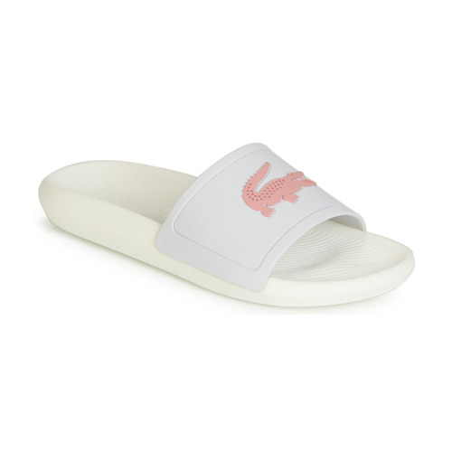 169e922d02be Lacoste CROCO SLIDE 119 3 Blanc / Rose - Chaussures Claquettes Femme ...