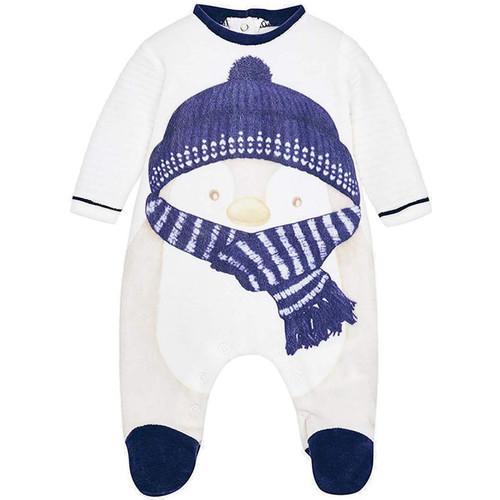Vêtements Garçon Pyjamas / Chemises de nuit Mayoral Pyjama pingouin velours bleu pour bébé garçon