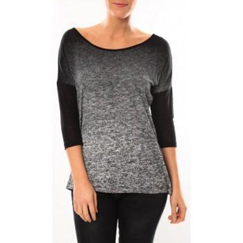 Vêtements Femme T-shirts manches longues Vero Moda Graing 3/4 Long Top 10104538 Noir/Gris Noir