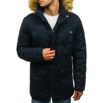 Vêtements Homme Blousons Monsieurmode Parka à capuche avec fourrure Parka M906 bleu marine Bleu