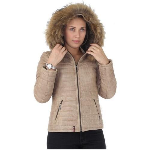 Vêtements Femme Doudounes Oakwood Doudoune  Happy en cuir ref_cco43970 Beige foncé beige