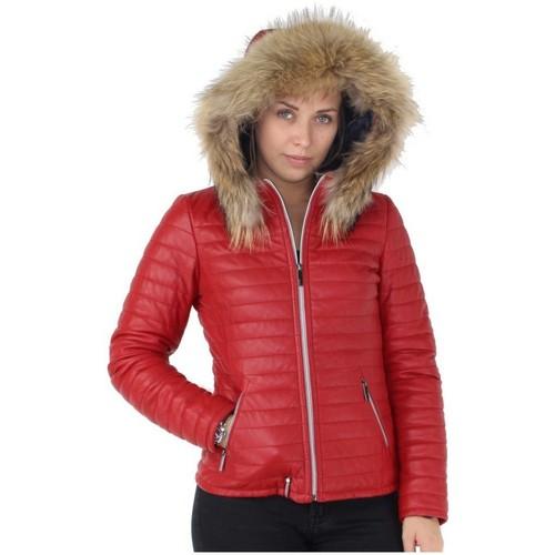Vêtements Femme Doudounes Oakwood Doudoune  Happy en cuir ref_cco37527 Rouge foncé rouge