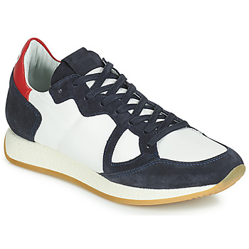Chaussures Femme Baskets basses Philippe Model Paris MONACO VINTAGE BASIC Blanc / Marine