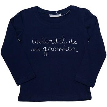 Vêtements Fille T-shirts manches longues Interdit De Me Gronder Strassy Bleu marine
