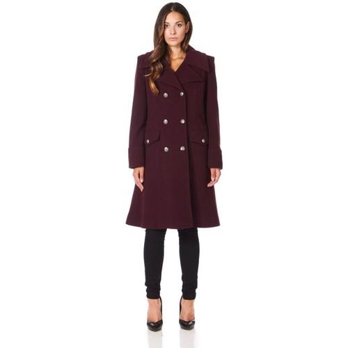 Vêtements Femme Manteaux De La Creme Manteau d'hiver militaire en laine cachemire Red